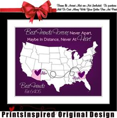 Gift for Best Friend: Unique Personalized Quote Art Map Popular Item Cute Custom Gift on Etsy, $23.99