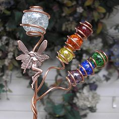 Rainbow Fairy Garden Plant Stake  Glass Copper by DragonflyDreams1, $26.99
