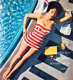 Mara Lane in a Jantzen swimsuit at the Sands Hotel, Las Vegas, NV.  Photographed by Slim Aarons, 1954