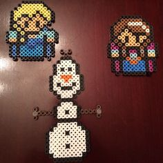 Elsa, Anna and Olaf - Frozen perler beads by cocoab27295