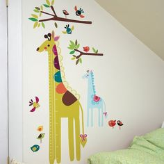 Giraffe growth chart vinyl wall sticker  Adorable for any childs room