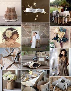 Burlap & coffee wedding theme