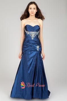 Long Royal Blue Strapless Prom Dress, A Line Sweetheart Prom Dresses, Royal Blue Princess Floor-Length Sweetheart Dress