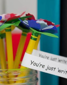 These inspirational Flower Pencil Toppers are a fun and funky idea for the first day back to school.