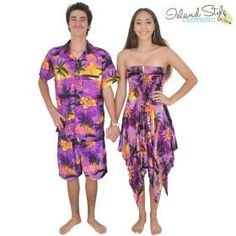 Blue Sunset Pixie Dress & Mens Hawaiian Shirt Couples Set