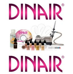 Airbrush Makeup Kit Dinair PRO EDITION, 8 Makeup Colors/Shades Salon Quality CHAMPAGNE SILVER-COMPRESSOR - MEDIUM COMPLEXION