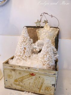 Vintage Box with Bottle Brush Trees and Glitter Stars