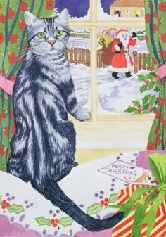 cat art, christma visitor, christma cat