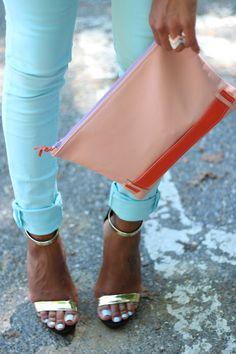 jean, toe, pastel, color combos, bag