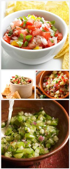 Daily Dish: Homemade salsas. Get more Daily Dish recipes here: http://bhgfood.tumblr.com/post/27696016197/daily-dish-chips-and-salsa-is-a-summertime