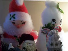 Vintage snowman and santa from the 70's