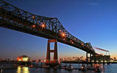 Tobin Bridge over the Mystic River, from Boston to Chelsea, MA