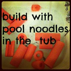 mamascout: {tub fun} turn your pool noodles into a building toy for the tub