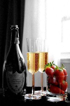 Dom Perignon and strawberries