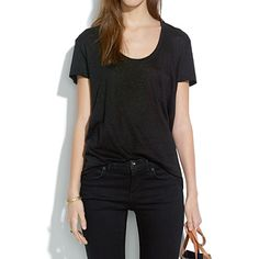 Linen Timeoff Tee in true black | Madewell
