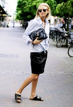 love this: leather pencil skirt, knotted button up shirt, and  classic black birkenstocks