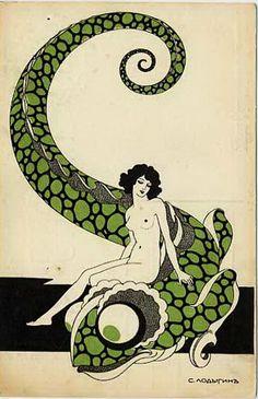 :art nouveau lizard nude study postcard russian Sergei Lodygin