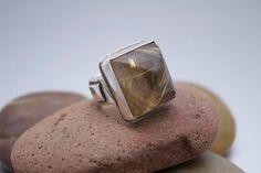 Rutilated Quartz Sterling Silver Ring by OlgaGanoudis on Etsy, $395.00