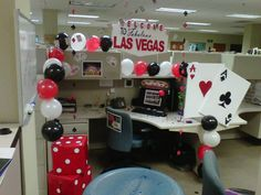 One coworker had her birthday and her dream is to go to Las Vegas, so we brought Las Vegas to her work place