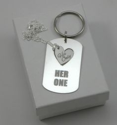Her One, His Only Necklace and Keychain Set - Gift for Couple