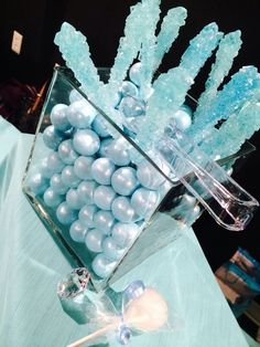 Blue candies at a Breakfast at Tiffany's Baby Shower!  See more party ideas at CatchMyParty.com!