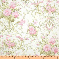 Pristine Rose Bouquet Pink - Discount Designer Fabric - Fabric.com