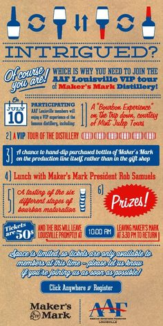 Great Infographic done for an invitation! Great work AAF Louisville!  AAF-Louisville Member Exclusive at Maker's Mark - July 10