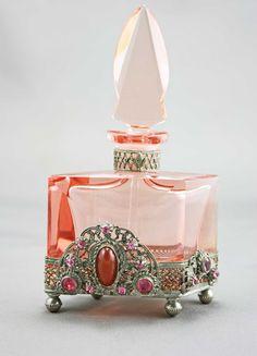 Czech Jeweled Art Deco Perfume Bottle