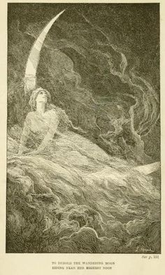 """To behold the wandering moon  riding near her highest noon""    The blue poetry book (1912)  illustrations by Henry Justice Ford & Lancelot Speed"