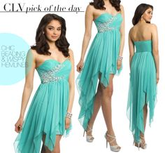 Camille La Vie high low strapless prom dress