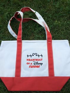Heartbeat of a Disney Runner Embroidered Canvas Bag