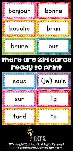 FRENCH Rainbow Word Wall Headers & EDITABLE Cards - le mur des mots