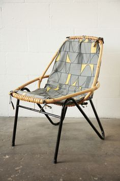 Retro Bamboo Chair with Enameled Metal Legs: Amsterdam Modern