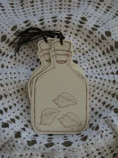 Shells in Bottle Tags Paper Crafts Beach Tags by GoldenNestStudio, $4.75