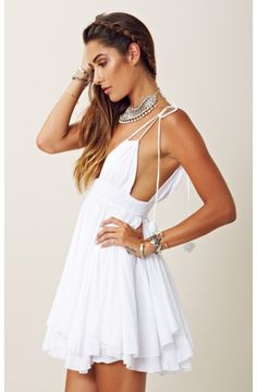 Indah Cute white summer dress
