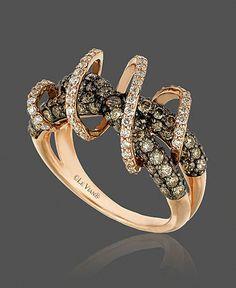 Ring | Le Vian. 14k Gold,  White Diamond and Chocolate Diamond Swirl