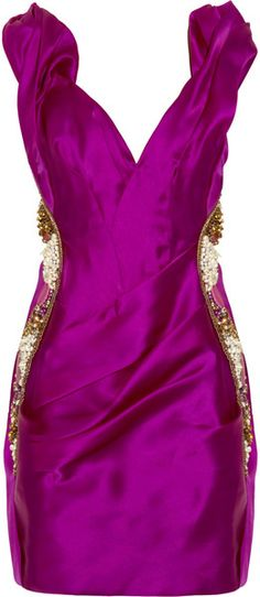 MARCHESA Embellished Silk-organza Dress