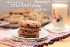 whole wheat cranberry choc-chip cookies