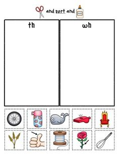 Good review for the beginning of the year... Sample sorting page from:  Digraph Sorts {Phonemic Awareness Sorting Series, Set #7}  $