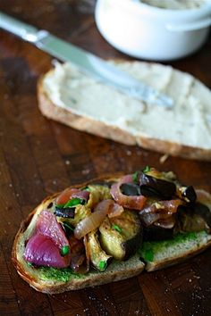 Grilled vegetables on homemade pesto, white bean spread and country bread for a rustic outdoor meal