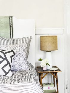 9 Must-Haves for a California Eclectic Home// mixed patterns, burlap lamp shade