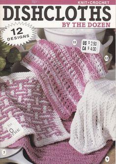 Dishcloths Crochet Patterns - 12 Designs