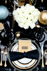 "Gold and black place setting. We love this palette for a vintage 1920's party inspired by ""Midnight in Paris"" or ""The Great Gatsby."""