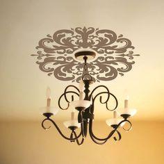 decor, idea, light fixtures, wall decals, ceiling medallions, hous, ceilings, diy, room