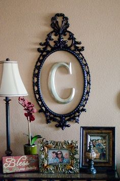 """Monogram """"C"""" for the wall above the crib."""
