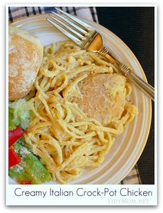 Creamy Italian Crock-Pot Chicken- I melted 2 tablespoons butter and poured over chicken then substituted cream of mushroom soup and dumped the rest ingredients in to a crock pot. Simple but scrumptious! (Added sliced mushrooms at the end.)