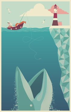 """Some recent illustration work for AMP Management's new offices in Eastbourne- entitled """"The Fear of Drowning""""."""