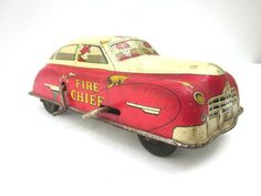 #Vintage #Toy #Car Wind Up Fire Cheif by ElmPlace on Etsy, $65.00