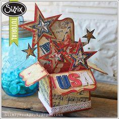 Sizzix Die Cutting Tutorial | Patriotic Stars Pop-Up Box Card by Hilary Kanwischer