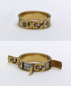 """This ring was made in France in the 1800s with doors that open, revealing hidden love messages beginning with """"Je t'aime."""""""